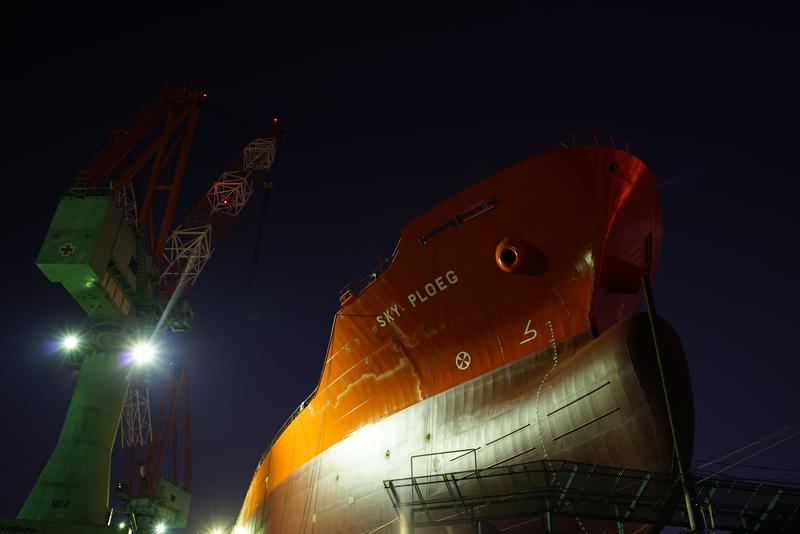 at Cyuo-ku Fukuoka(荒津埠頭;2万t貨物船建造中)